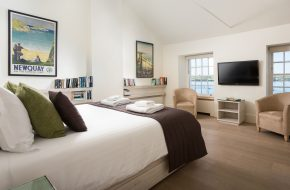 Double bedroom with sea views at Old Customs House, self catering cottage in Rock, Cornwall